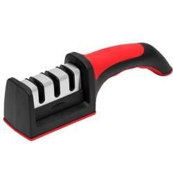 Ascutitor de cutite manual 3in1, cu maner ergonomic, 21.5x5 cm, rosu/negru