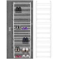 Organizator pentru incaltaminte cu 12 rafturi, prindere pe usa sau perete, 36 perechi, 177x52 cm, alb