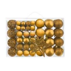 Set Globuri de Craciun cu Varf de Brad model Stea, 100 piese, auriu