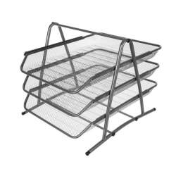Suport metalic etajat cu 3 tavite pentru documente A4, 29.5x29x27 cm, argintiu