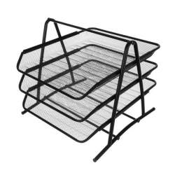 Suport metalic etajat cu 3 tavite pentru documente A4, 29.5x29x27 cm, negru