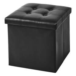 Scaun Taburet Pliabil cu Loc pentru Depozitare, din Piele Ecologica, 38x38 cm, negru