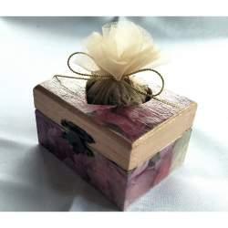 Cutiuta din lemn, inimioara, cu lavanda 8x5.5x4.5 cm - model 4 MACF-229