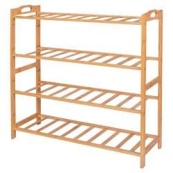 Suport pentru depozitare incaltaminte, cu 4 rafturi, din lemn de bambus, capacitate 20kg, maro