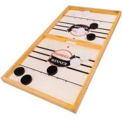 Joc interactiv Hochei pentru copii, cu tabla din lemn, cu 10 pucuri, 29.5x54 cm
