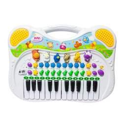Orga Electronica cu 24 Clape pentru Copii, cu melodii, ritmuri si sunete animale, 38x27x3 cm, alb
