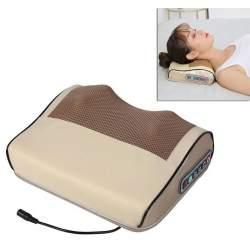 Perna electrica pentru masaj cervical, piele Eco, cu 6 butoane, 2 capete de masaj, 24W, maro