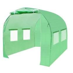 Solar Sera pentru Gradina Malatec cu 3 Ferestre Laterale, Folie Transparenta si Cadru Metalic, Dimensiuni 2x2x2 m, Verde