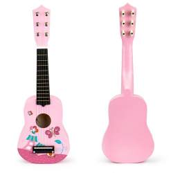 Chitara clasica din lemn pentru copii, cu 6 corzi metalice, 53cm, roz