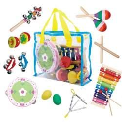 Set instrumente muzicale de percutie pentru copii EcoToys, cu geanta de depozitare, 14 piese