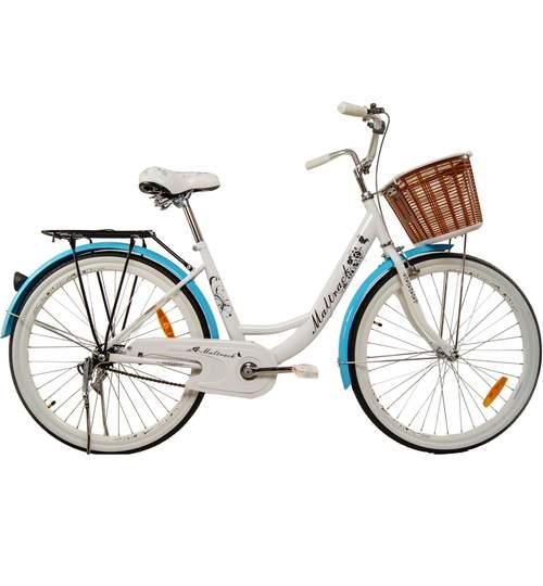 Bicicleta de Oras MalTrack Blue Mare, Roti 26 Inch, Cos Cumparaturi si Motive Florale