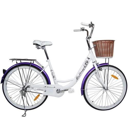 Bicicleta de Oras MalTrack Purple Dream, Roti 26 Inch, Cos Cumparaturi si Motive Florale