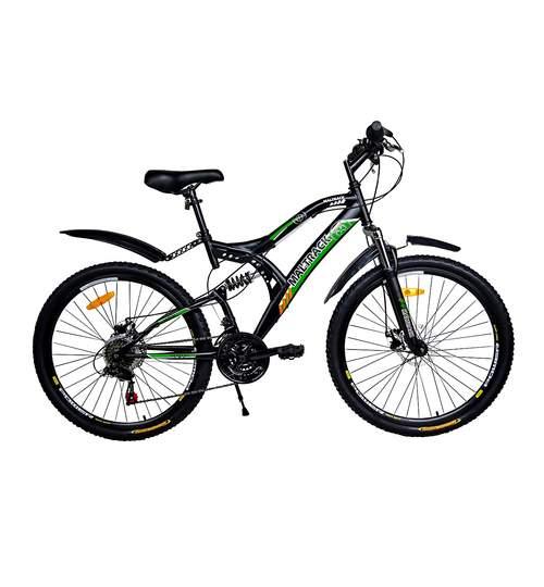 Bicicleta MTB MalTrack Target Green cu 18 Viteze, Amortizor, Roti 26 Inch, Mountain Bike