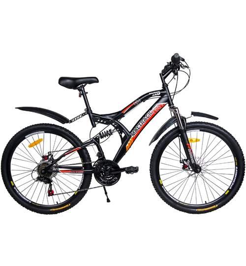 Bicicleta MTB MalTrack Target Red cu 18 Viteze, Amortizor, Roti 26 Inch, Mountain Bike