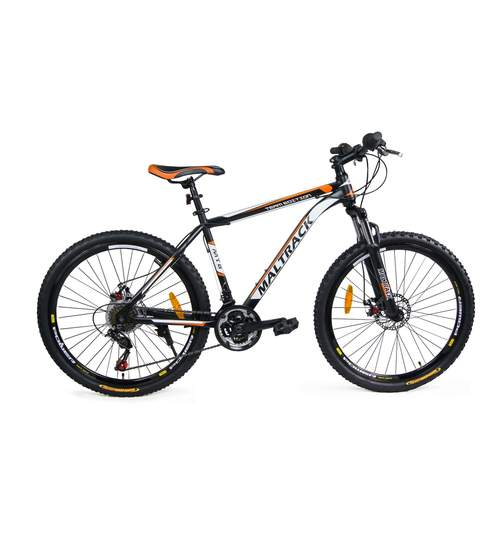 Bicicleta MTB MalTrack Team Orange cu 18 Viteze, Roti 26 Inch, Mountain Bike