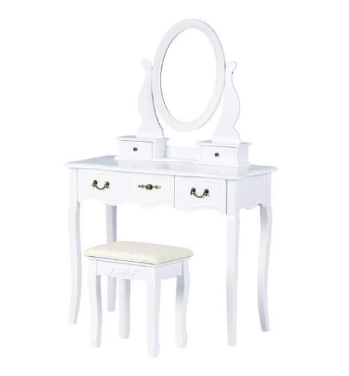 Set Masa Toaleta pentru Machiaj cu Oglinda Ovala Reglabila, 5 Sertare + Scaun, Culoare Alb
