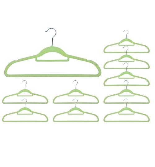 Set 10x Umerase din Plastic Acoperite cu Velur pentru Haine, Culoare Verde