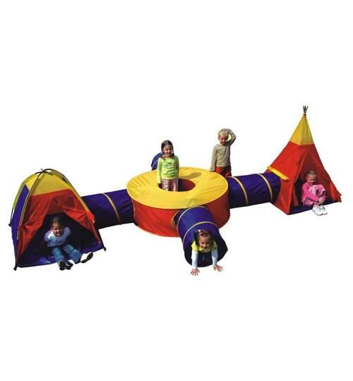Set Cort Pliabil 7-in-1 pentru Copii tip Iglu cu Tunele Multicolor