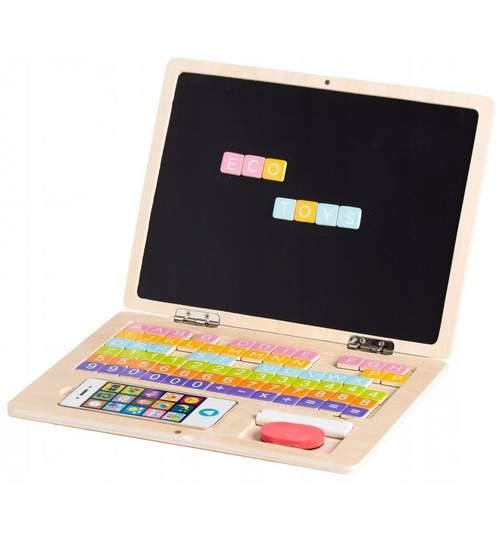 Laptop din lemn pentru copii, cu 78 elemente magnetice