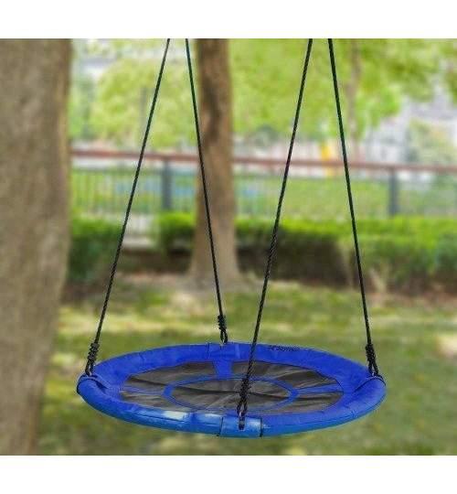 Leagan Balansoar Rotund Tip Cuib Pentru Curte Gradina Sau Terasa Capacitate Maxima 150kg Diametru 100cm Culoare Albastru Maniamall