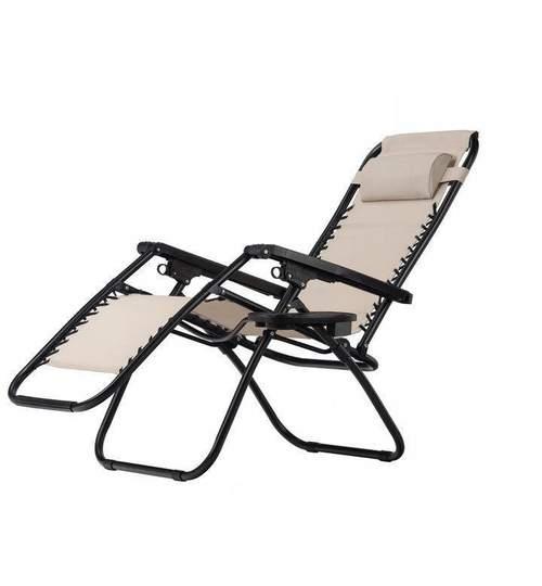 Scaun pliabil tip sezlong, ajustabil, cu tetiera, cotiere si suport lateral, pentru gradina sau terasa, culoare bej