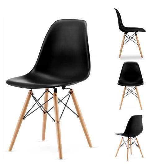 Set 4 scaune  moderne pentru bucatarie, living, sufragerie sau exterior, model PC-005, culoare  negru
