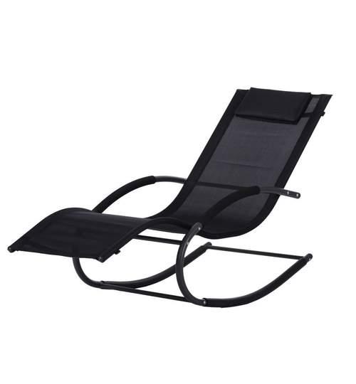 Sezlong tip balansoar cu perna, cadru metalic, culoare negru