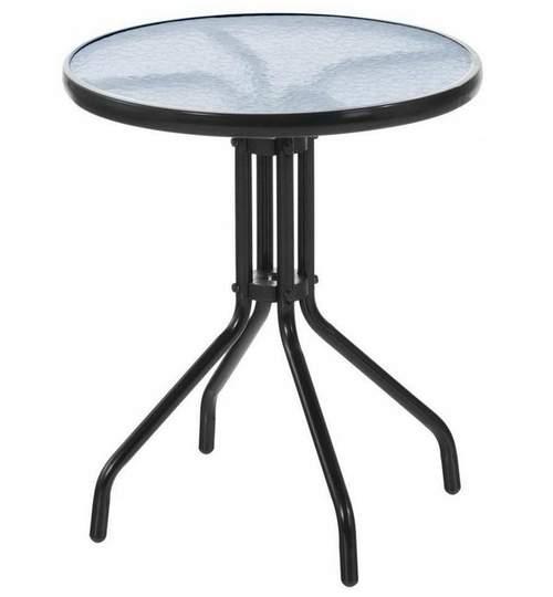 Masa Rotunda cu Blat din Sticla Diametru 60cm, Cadru Metal pentru Curte, Gradina, Terasa sau Balcon, Negru