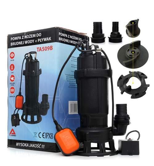 Pompa Submersibila Tagred cu Plutitor, Cutit si Tocator pentru Apa Murdara, Fose Septice, Putere 3050W, Debit 29000L/H