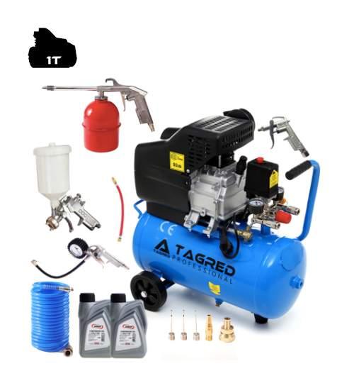 Set Compresor de Aer cu Ulei Tagred Mobil, 24L, 3.8 CP, 8 Bar, 206L/min + Pistol de Vopsit cu Accesorii 8-in-1 + ulei cadou