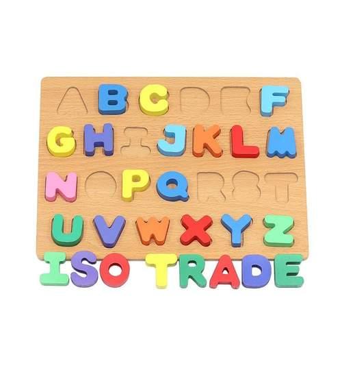 Puzzle Educational din Lemn cu Literele Alfabetului, Multicolor