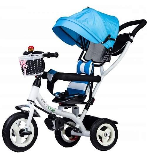 Tricicleta cu scaun rotativ, maner parental, copertina, roti din cauciuc, suport picioare pliabil, culoare albastru