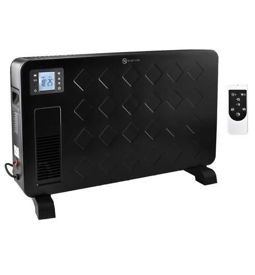 Convector electric de podea Malatec, afisaj LCD, 2300W, 3 trepte de putere, termostat, negru