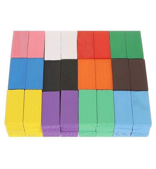 Joc educativ DOMINO din lemn, 360 piese multicolor