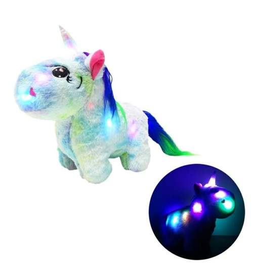 Unicorn din plus iluminat LED, 30x26cm, albastru