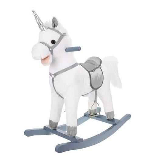 Calut Balansoar din Plus pentru Copii cu Sunete si Miscari, 74cm, alb/argintiu