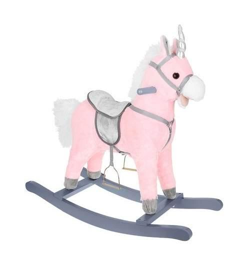 Calut Balansoar din Plus pentru Copii cu Sunete si Miscari, 74cm, roz/argintiu