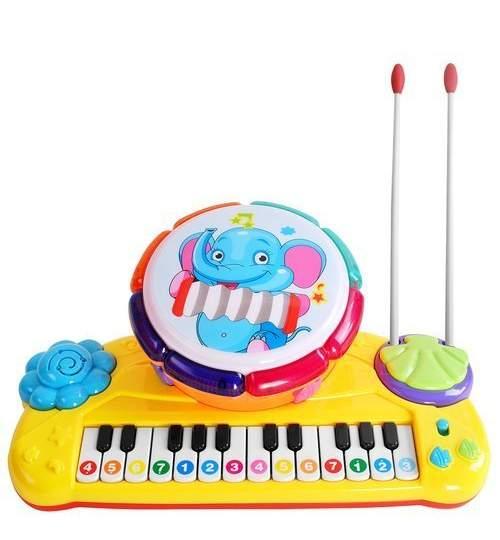 Jucarie muzicala educativa 2 in 1, orga electronica cu toba si betisoare, multicolor