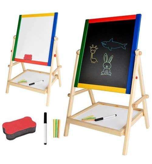 Tabla magentica cu doua fete, de scris, 3in1 din lemn, suport si accesorii incluse