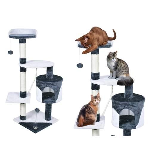 Ansamblu de joaca Olmo pentru pisici, inaltime 112cm, alb/gri antracit