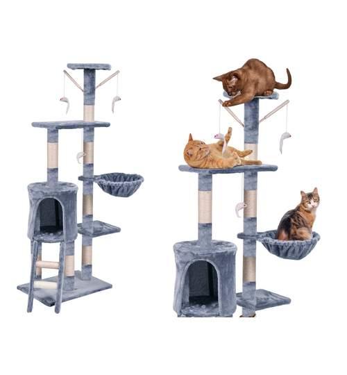 Ansamblu de joaca Sorbo pentru pisici, inaltime 140cm, gri