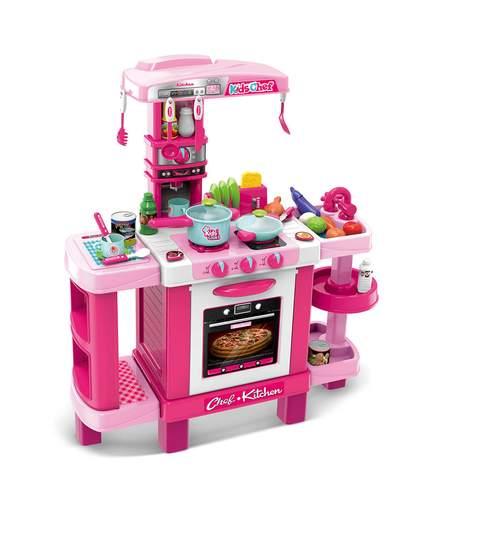 Bucatarie interactiva pentru copii, cu accesorii, 40 piese, roz