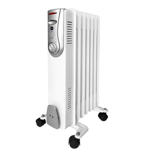 Calorifer electric cu ulei, putere 1500W, termostat reglabil, alb