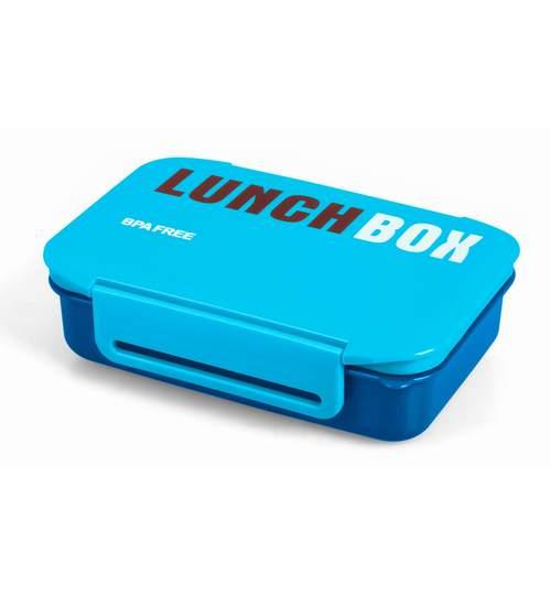 Caserola Lunch Box pentru mancare cu 2 compartimente si lingura, albastru