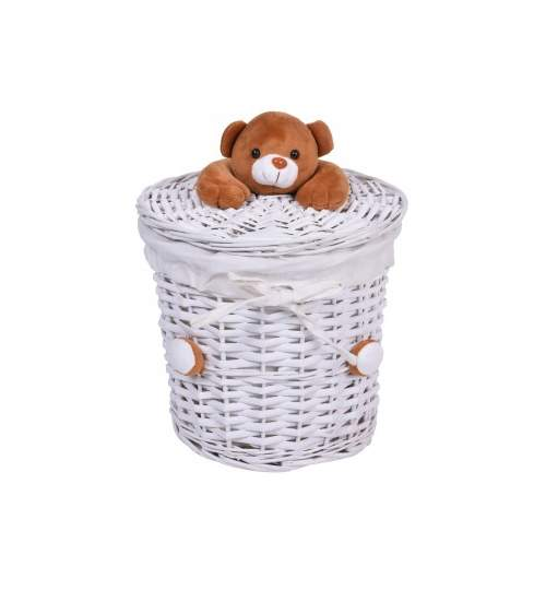 Cos impletit pentru depozitare rufe baie cu ursulet de plus, Capacitate 15L, Culoare Alb