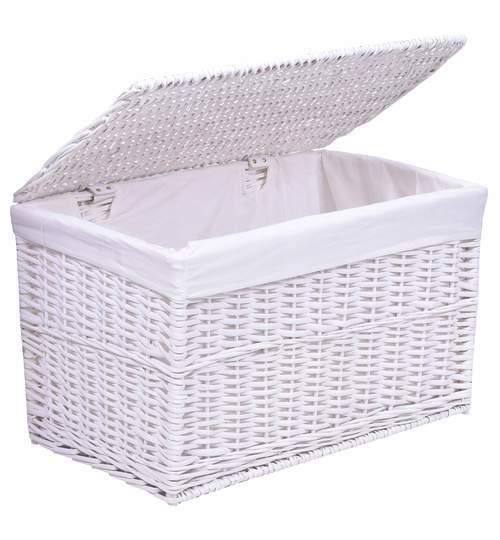 Cutie Lada pentru Depozitare cu capac, 65L, alb