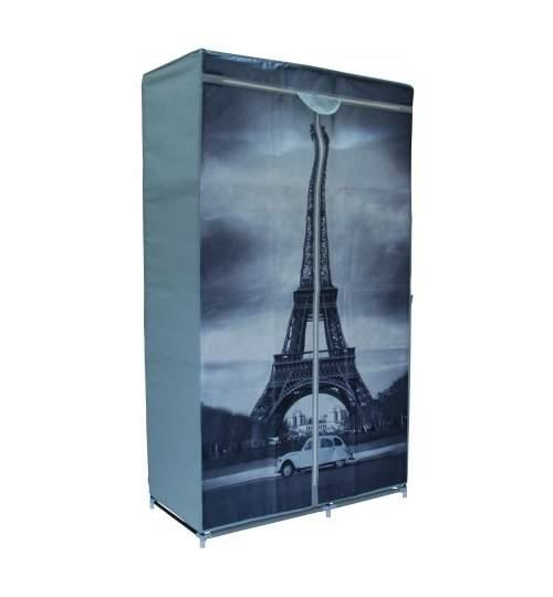 Dulap din material textil model Paris, pentru depozitare incaltaminte, imbracaminte sau accesorii, cadru metalic, 6 rafturi