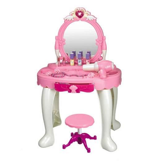 Masuta de machiaj cu oglinda pentru fetite, accesorii si scaun, efecte lumini si sunet