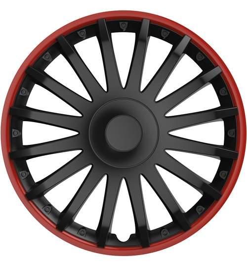 Set capace roti 16 inch, Cristal, Negru cu dunga rosie