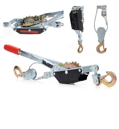 Troliu manual, 2 tone, mecanism de blocare, cu 2 carlige, cablu din otel 2.5m